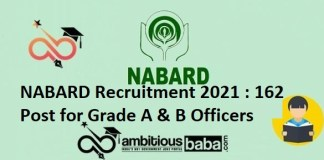 NABARD Recruitment 2021 : 162 Post for Grade A & B Officers