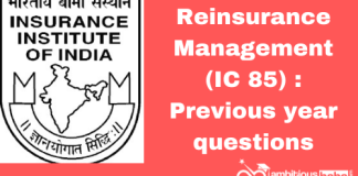 Reinsurance Management (IC 85): Previous year paper