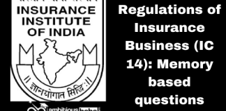Regulations of Insurance Business (IC 14): Memory based questions