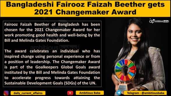 Bangladeshi Fairooz Faizah Beether gets 2021 Changemaker Award