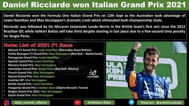 Daniel Ricciardo won Italian Grand Prix 2021