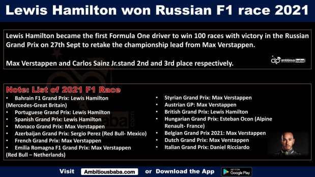 Lewis Hamilton won Russian F1 race 2021