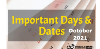 Important Days in October 2021