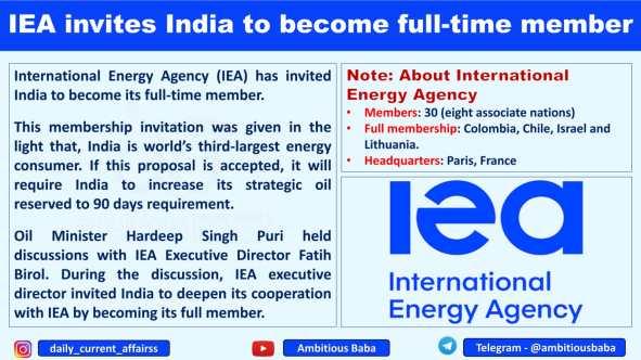 IEA invites India to become full-time member