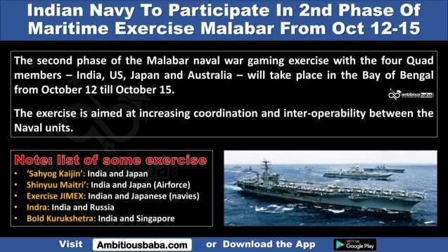 Indian Navy To Participate In 2nd Phase Of Maritime Exercise Malabar From Oct 12-15