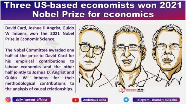 Three US-based economists won 2021 Nobel Prize for economics