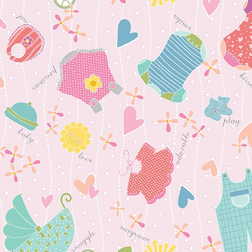 Baby on Pink My Little Sunshine Collection for Cherry Blossoms Quilting Studio for Bernartex FNRS001