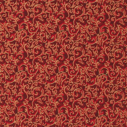 Seasons Greeting Gold Guilded Swirls on Red by Fabri-Quilt