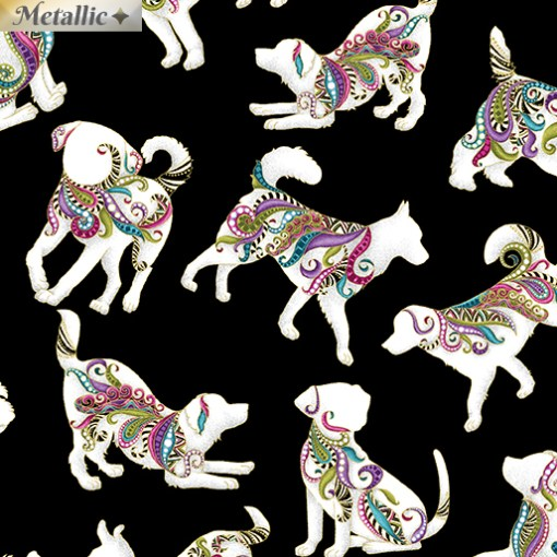 Hot Diggity Dogs with metallic detail dog on it collection from benartex