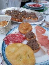 Chicken Liver Crostini (amazing!), homemade foccacia and cold cuts