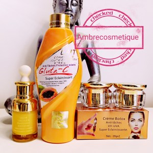 GLUTA C&E PAPAYA ACIDE HYALURONIQUE ANTI AGE ANTI TACHE ULTRA NOURISSANT BLANCHISSANT GAMME 3 PIECES LAIT CORPS & SERUM & CREME VISAGE