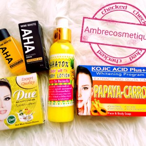 AHA OVER WHITE PAPAYA CAROTTE GLUTA C&E KOJIC ACID PLUS SAVON & SERUM AHA & VITAMINE C COLLAGENE GAMME ECLAIRCISSANTE 4 PIECES