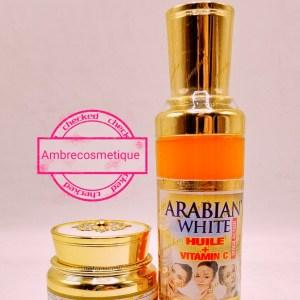 ARABIAN WHITE GAMME 2 PIECES CREME VISAGE & HUILE ECLAIRCISSANTE AU GLUTATHIONE & COLLAGENE & VITAMINE C ANTI TACHES