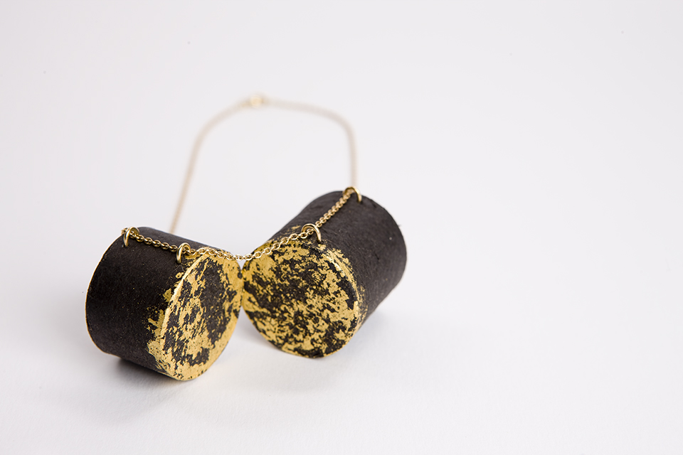 necklace, 2012 : recycled paper, gold