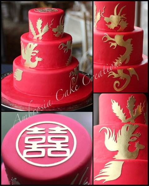 Double Happiness with Dragon and Phoenix Wedding Cake   Ambrosia     Double happiness with dragon and phoenix wedding cake