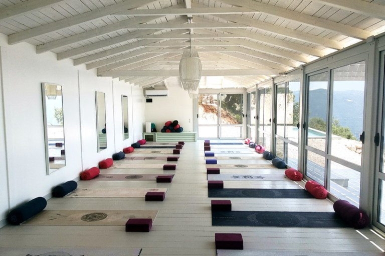 Luxury yoga retreat Greece yoga studio