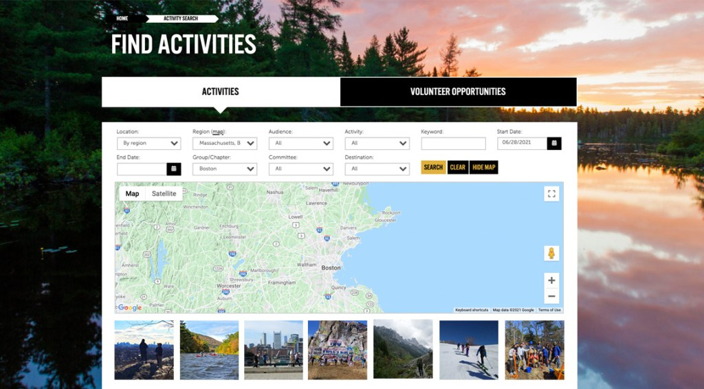 image of outdoors.org web page showing the search fields for the Boston Chapter