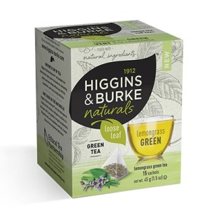Higgins and Burke Lemongrass Green Loose Leaf Pyramid Tea