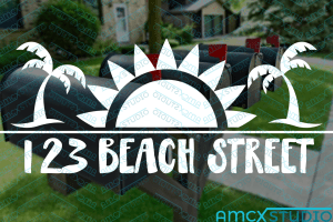 Beach Mailbox Decal