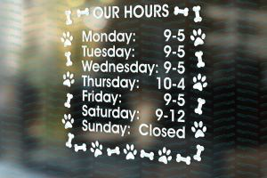 Dog Groomer Decals, Dog Kennel Hours, Pet shop store signs