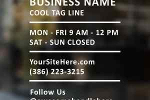 Modern Window Decal for Business , Our Business Hours