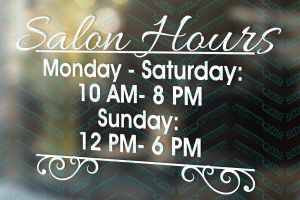 Salon Hours | Nail Salon Sign | Shop Decal | Shop Window Decal | Pretty Window Decal | Small Business Decal
