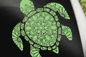 Turtle mandala decal, gifts for ocean lovers, ocean animal decals