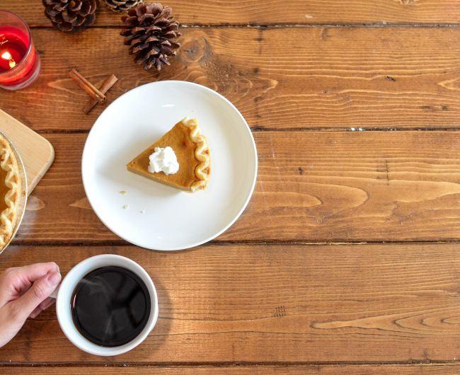 Thanksgiving dessert and coffee