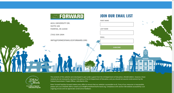 formed Families forward footer with email subscription box