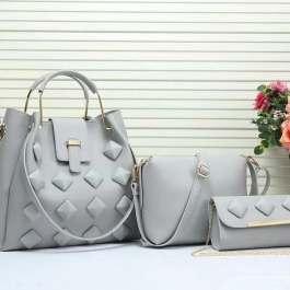 Grey colored 3 in 1 handbag
