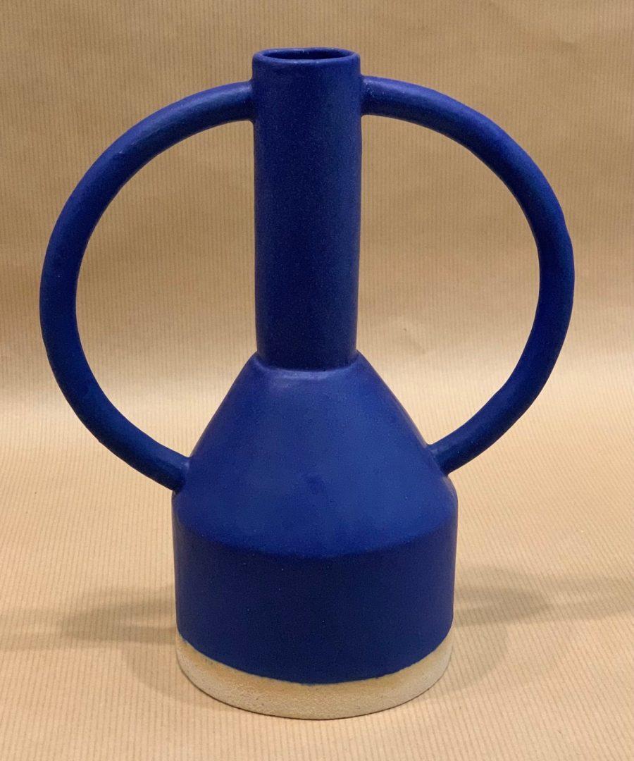 Sophie Alda - vase bleu double anse L