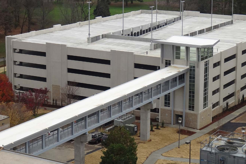 Covered and elevated walk way from health center to parking deck