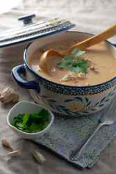 Beef Coconut Milk Curry in serving dish side view