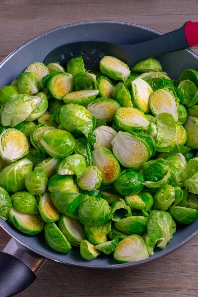 Brussels sprouts lightly sauteed in nonstick wok
