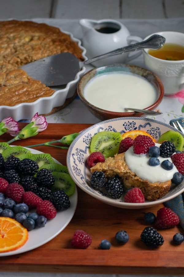 Flourless Oatmeal Pancake wedge with fruit and kefir