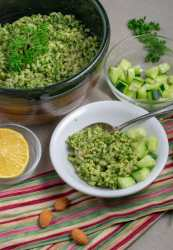 Nut Pesto green rice with lemon and cuke in small bowls