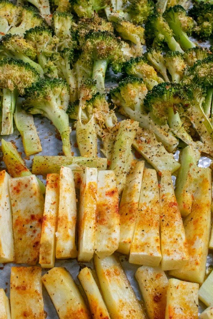 Roasted Broccoli and White Sweet Potatoes roasted on baking sheet
