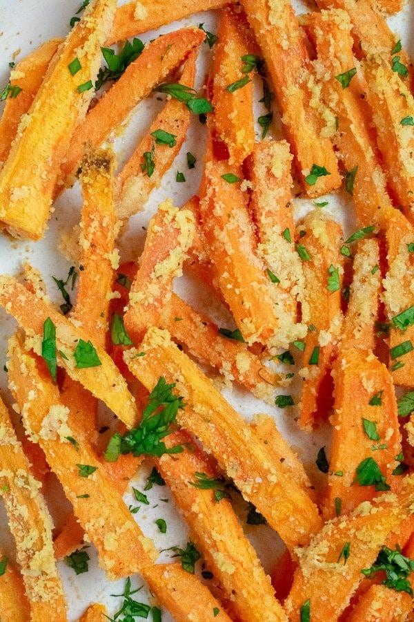 roasted sweet potato fries baked close up