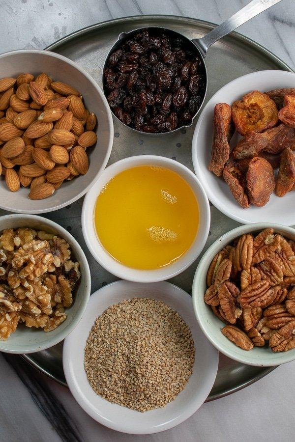 ingredients for moringa fruit-nut-ola
