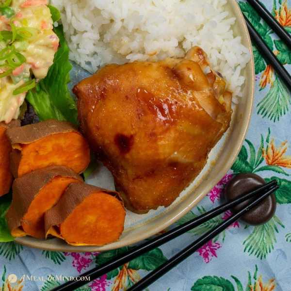 delicious hulihuli style chicken thighs with sweet potatoes and potato salad