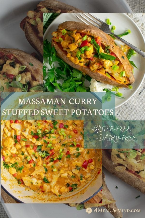 pinterest collage 3 for thai massaman curry stuffed sweet potatoes