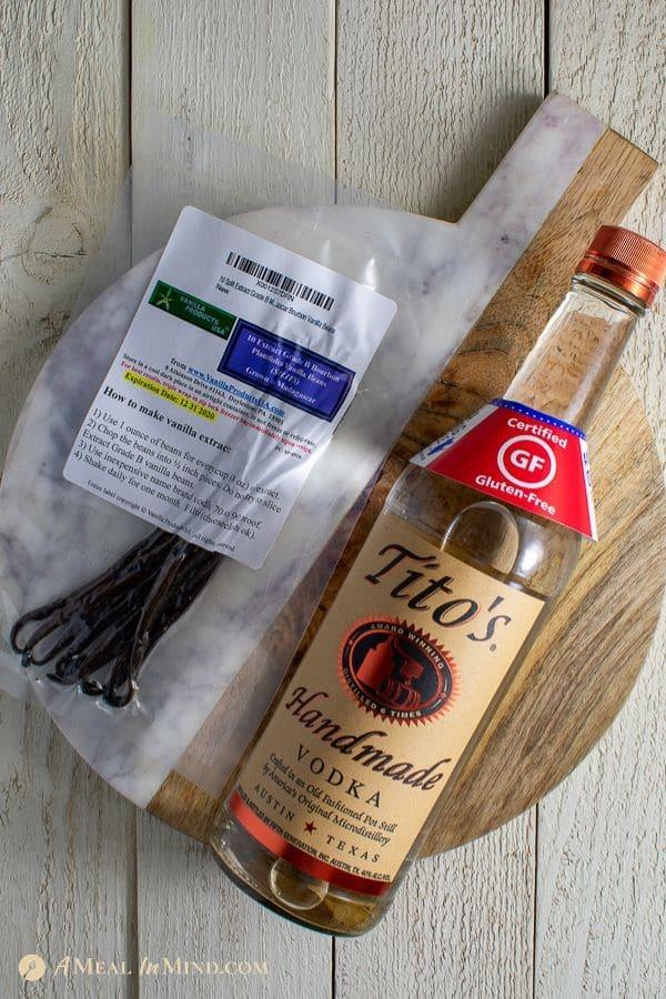 vanilla beans and vodka before making vanilla extract