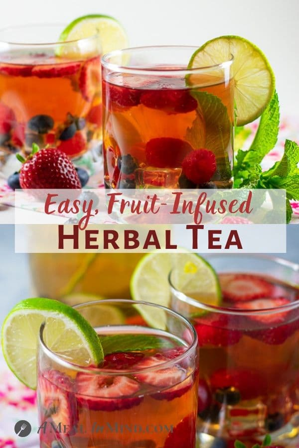fruit infused herbal tea with fruit pinterest collage