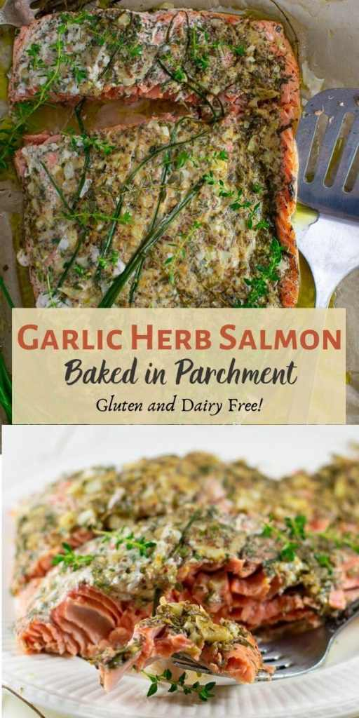 garlic herb salmon baked in parchment pinterest collage