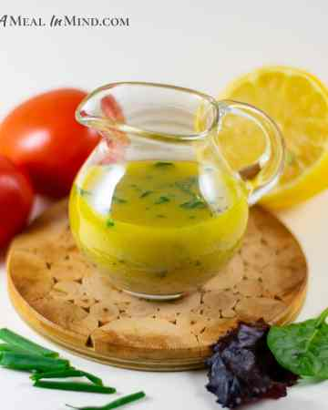 lemony garlic-mustard vinaigrette