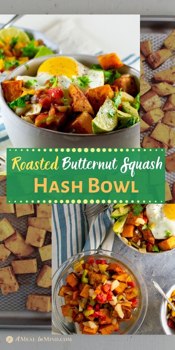 roasted butternut squash hash bowl pinterest collage
