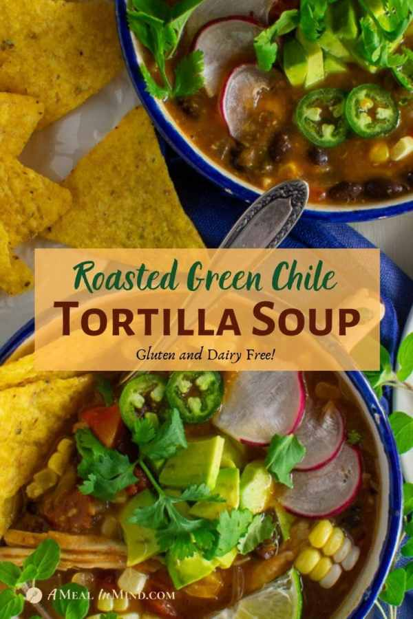 green chile tortilla soup in blue bowls