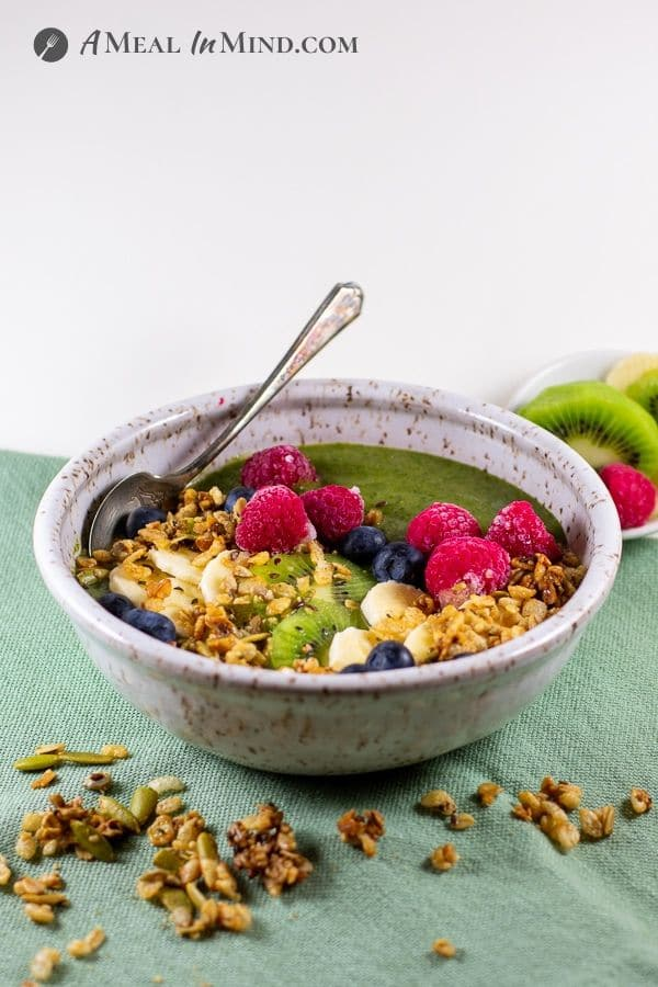 Chia-Greens Peach Smoothie Bowl with garnishes side view