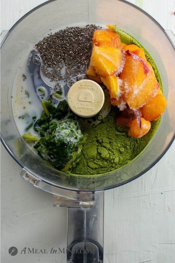 Chia-Greens Peach Smoothie Bowl ingredients in food processor