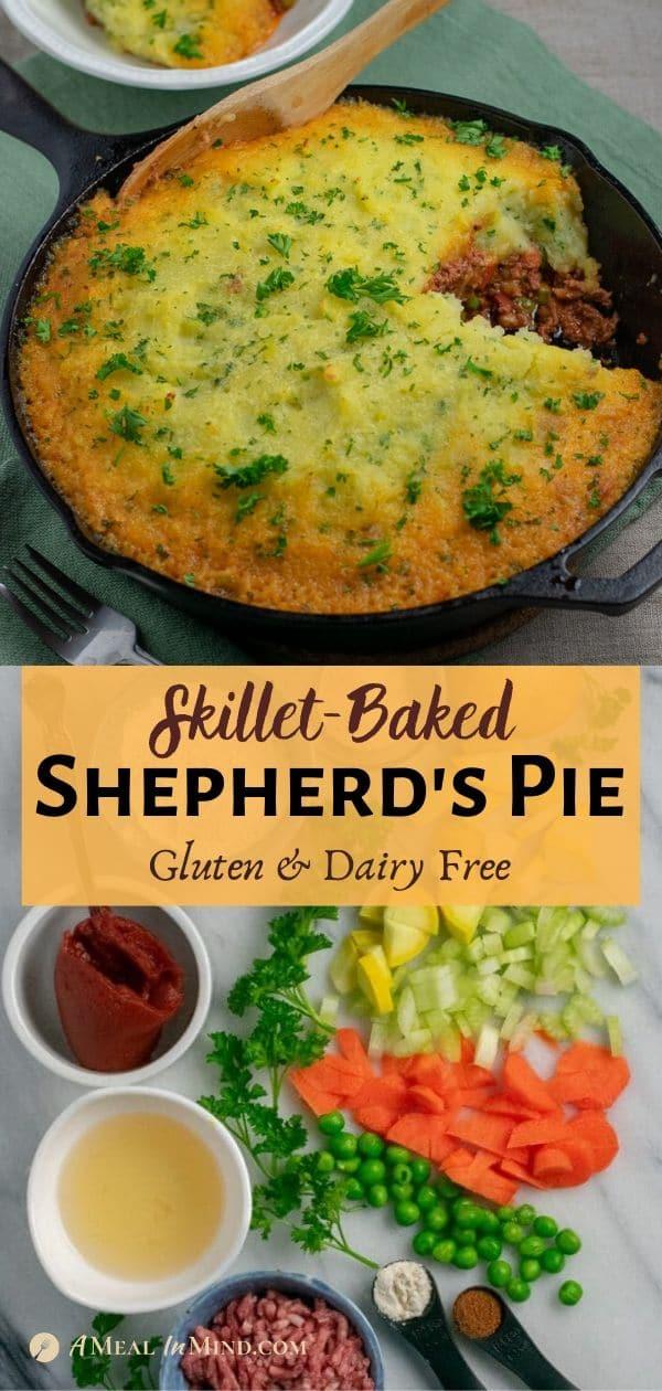 beef shepherd's pie baked in skillet pinterest collage with ingredients